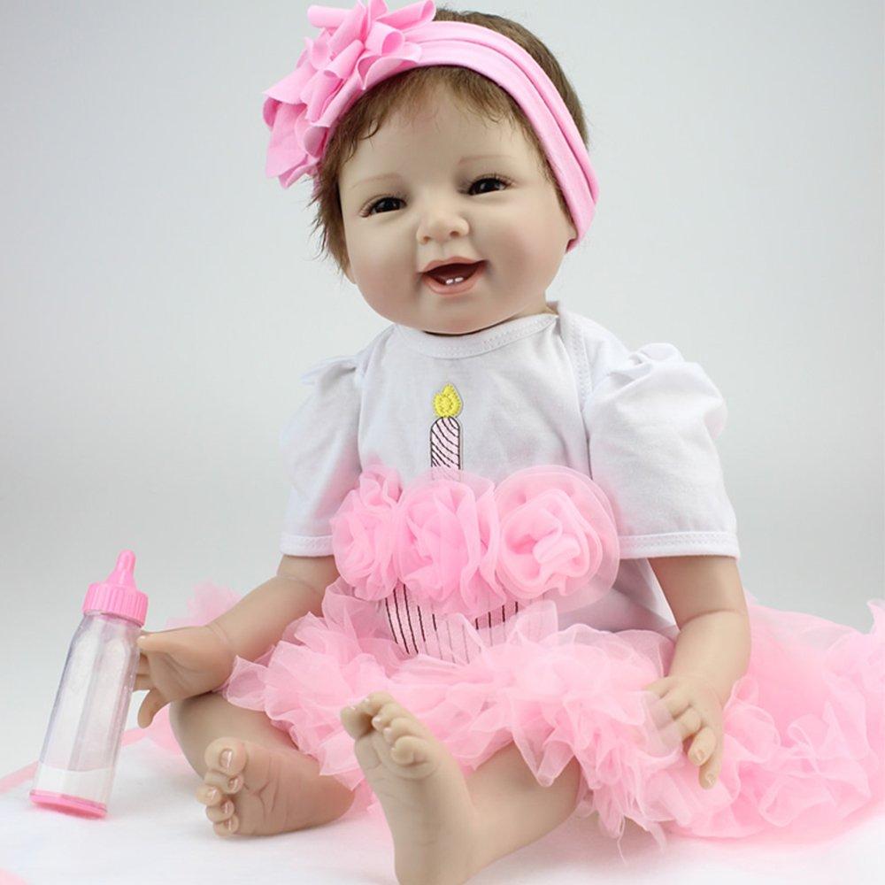 Decdeal Reborn Baby Puppe Mädchen Silikon Babypuppe Wie Echtes Baby Blaue Prinzessin 25cm