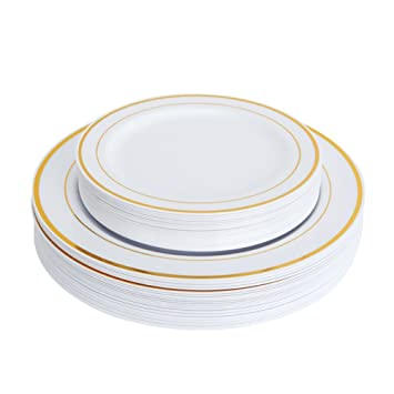 Wedding Plastic Disposable Plates 50 Pack( Good For 25 Guest 25 Dinner 25  sc 1 st  Amazon.com & Amazon.com: Wedding Plastic Disposable Plates 50 Pack( Good For 25 ...