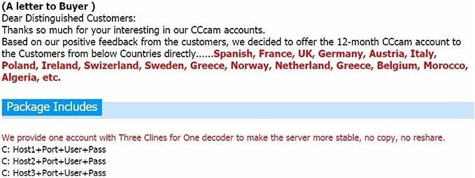 CCCAM Europa 3 Cline Ultimo Server para decodificador Satellite Sky UK Alemania Francia España Austria Italy Sweden Greece Norway Netherland belguium Poland Ireland swizeland....: Amazon.es: Electrónica