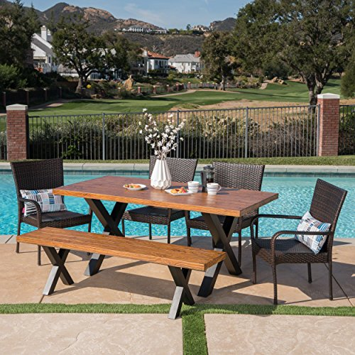 Great Deal Furniture 303778 Amaryllis Outdoor 6 Piece Stacking Multibrown Wicker Dining Set with Brown Walnut Finish Light Weight Concrete Table and Bench, Black