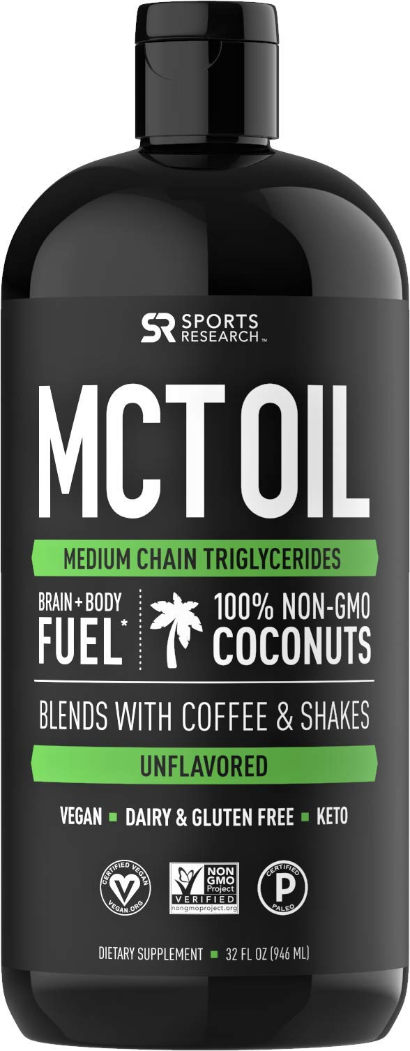 Premium MCT Oil derived only from Non-GMO Coconuts - 32oz BPA Free Bottle | Great in Keto Coffee,Tea, Smoothies & Salad Dressings | Non-GMO Project Verified & Vegan Certified (Unflavored) by Sports Research