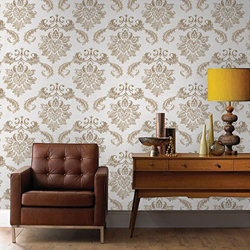 2 Embossed Textured Damask Wallpapers For Walls Of Bedroom, Living Room, Kitchen or Bathroom 20.8