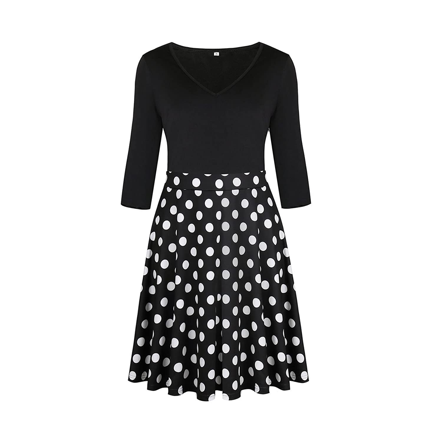 ECOLIVZIT Womens V-Neck Floral Dress Half Sleeves Casual Swing Midi Dress at Amazon Womens Clothing store: