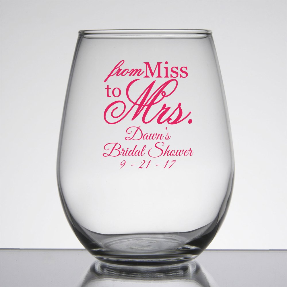 amazoncom 48 pack personalized color printed 9 once stemless wine glass from miss to mrs bridal shower gold wine glasses