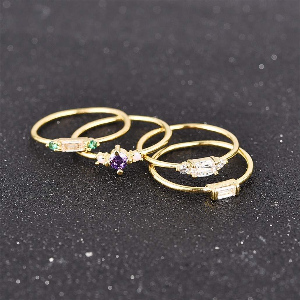 einfache Geometrie Zirkon NYAOLE Damen Fingerringe Ring-Sets Verlobungsschmuck 4 St/ück 5 Gold color Reflexionen Gelenk