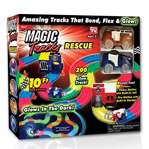 Ontel Magic Tracks Rescue with 2 Race Car & 10' of Flexible, Bendable Glow in The Dark Racetrack, As Seen on TV