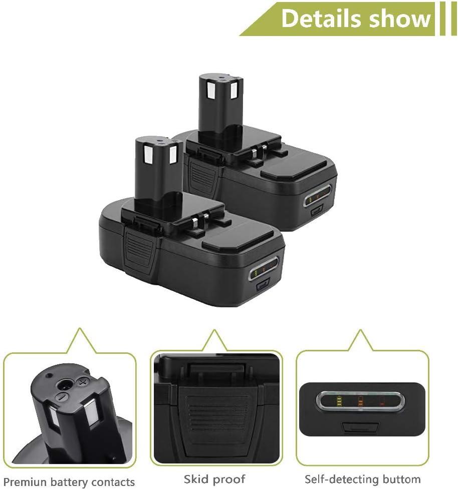 P107 P108 P105 P107 Li-ion Replacement Battery 2000mAh for Ryobi 18-Volt ONE Plus Cordless Drill Power Tool P102 P109 P103 2 Pack P122 P104