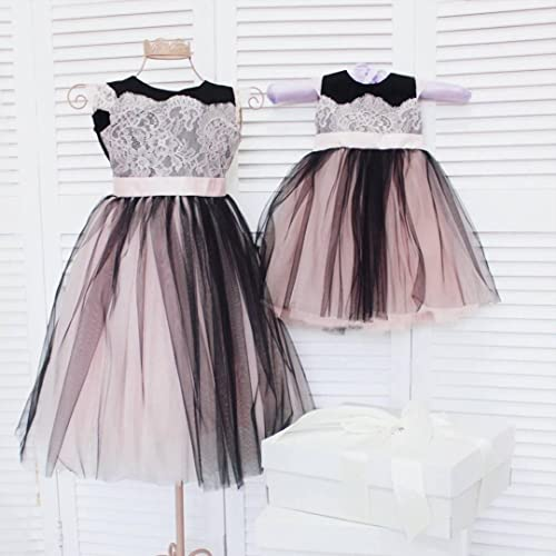 3b1018d7 Amazon.com: Mother daughter matching tutu lace dress, black and white  dresses for Mom and baby, girls party dress, Mommy and Me prom birthday  dress: ...