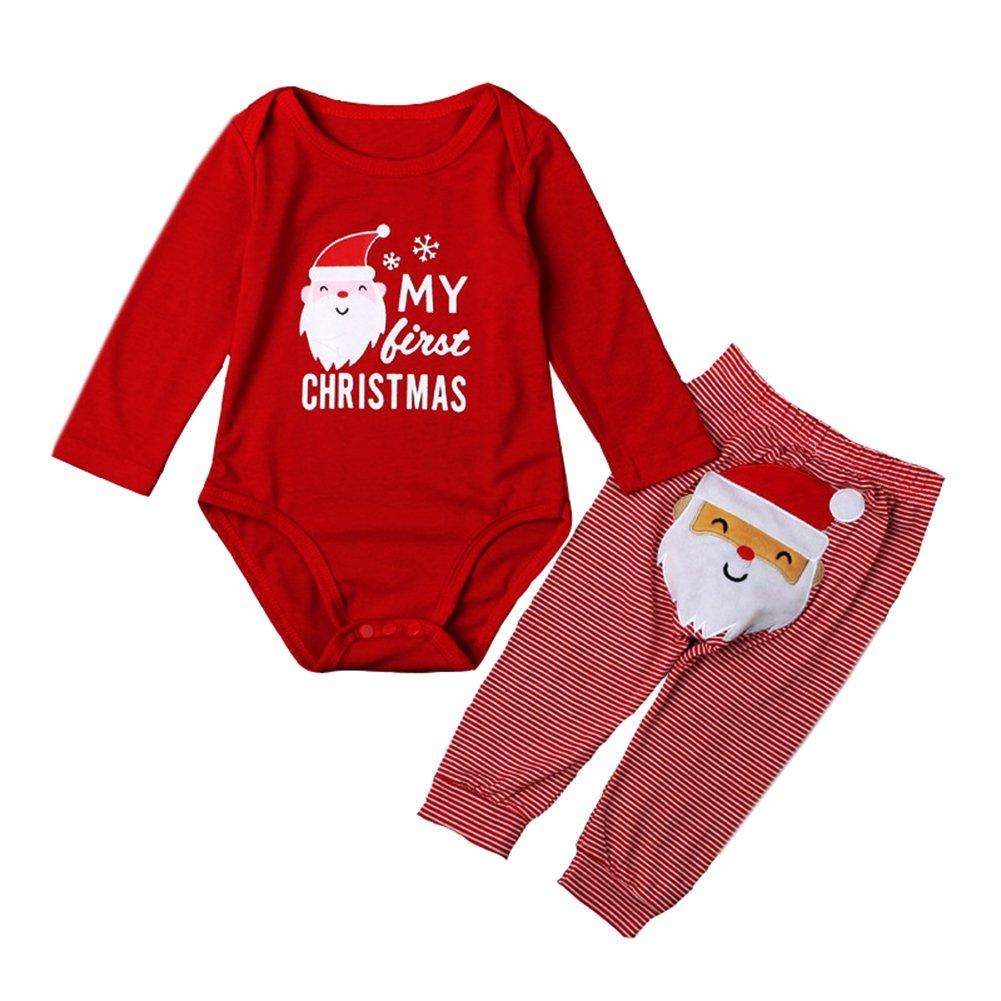 ALLAIBB Bambino Piccolo Vestito di Natale 2PCs Pantaloni da Babbo Natale Rossi