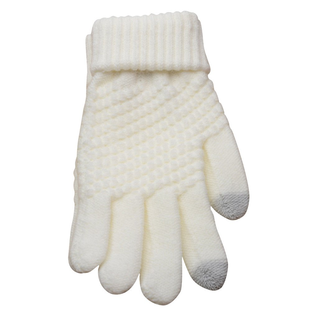 URIBAKE Unisex Wool Knit Gloves Solid Winter Soft Thermal Screen Touch Warm Mittens Knitwear