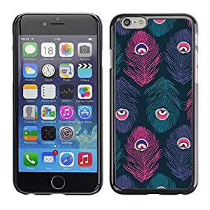 Caucho caso de Shell duro de la cubierta de accesorios de protección BY RAYDREAMMM - Apple iPhone 6 Plus 5.5 - Feather Eye Teal Purple Bird