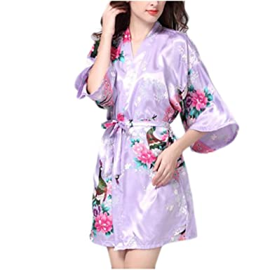 Image Unavailable. Image not available for. Color  Charming Women Bathrobe  Blossoms Peacock Kimono Silk Robes Gown-Purple 327e7f97b