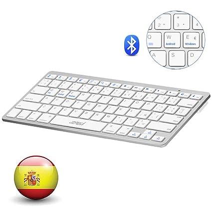 YZPUSI Bluetooth 3.0 Inalámbrico Wireless Teclado, Ultra Slim y Ligero Teclado Compatible with Tablet, Smartphone, Portable Teclado with Cubierta ...
