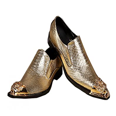 Men's Leather Loafers Slippers With Gold Rivet Wedding Dress Slip On Shoes (US 10)