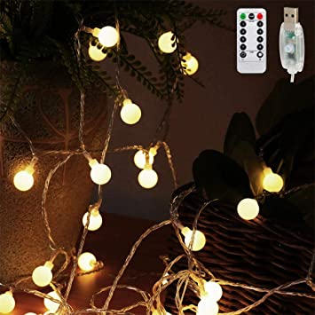 Amars 16 4ft Led String Lights Usb Plug In With Remote Timer Christmas Hanging Decorative Globe Fairy Lights For Indoor Outdoor Bedroom Home Garden Patio Party Wedding Warm White Amazon Com