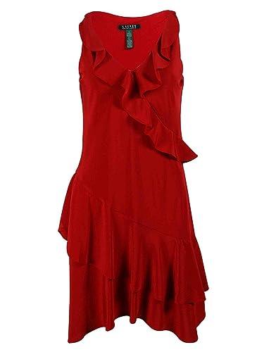 Lauren Ralph Lauren Womens Ruffled V Neck Cocktail Dress