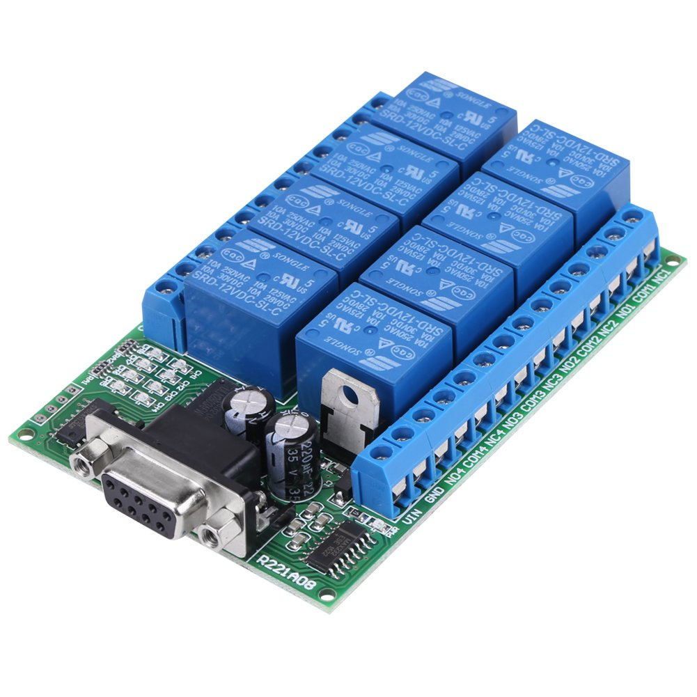 12V 8-Channel DB9 RS 232 Relay Module Remote Control Switch Smart Home