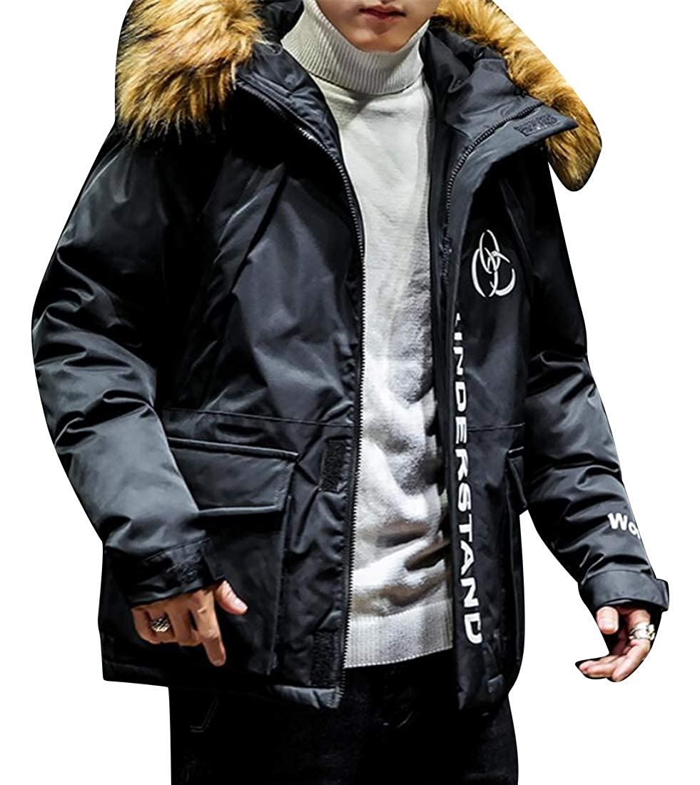 YYG Mens Loose Fit Thickened Winter Warm Faux Fur Hoodie Down Coat Jacket Outerwear
