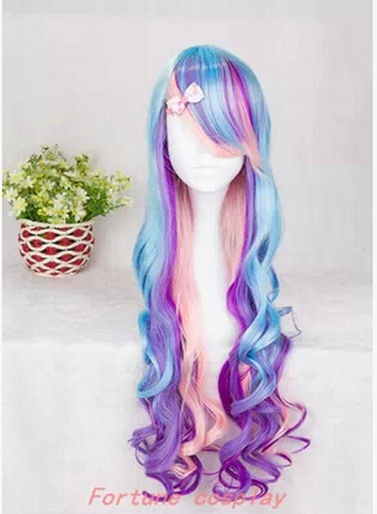 Long Curly Wig Multi-colored