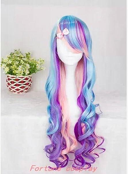 Largo rizado partido peluca multicolor Peluca de Halloween