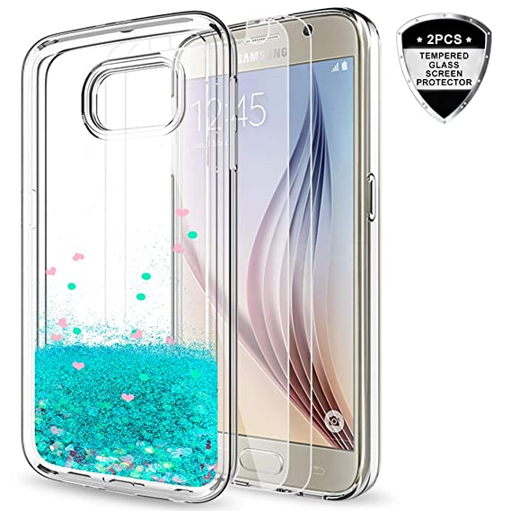 amazon com galaxy s6 case with tempered glass screen protector [2galaxy s6 case with tempered glass screen protector [2 pack] for girls women,