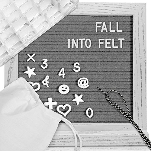 Changeable Letter Board Felt Message-Board - Handsome White Oak Wood Letterboard with 346 Letters and Emojis, Stand, Tight-Fit Gray Felt, 10x10 inch by Fall Into Felt