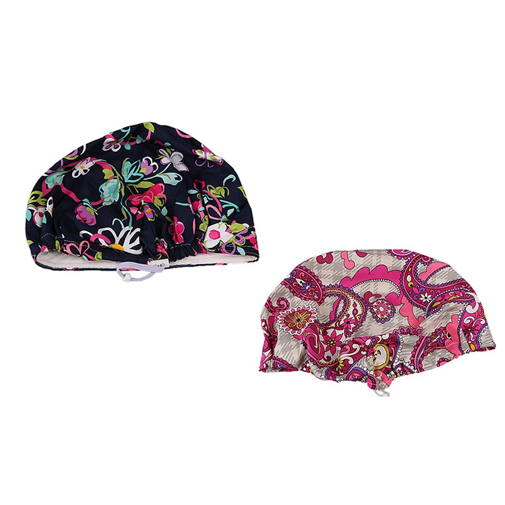 Prettyia 2/set Women Men's Printed Cotton Surgical Hat Scrub Cap
