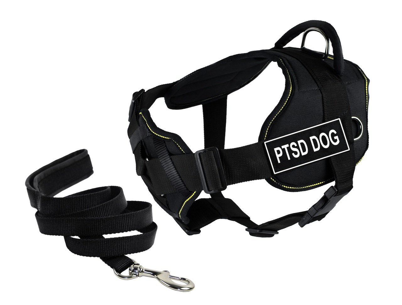 Dean & Tyler Bundle of 22 to 27-Inch DT Fun Harness with Chest Support and 6-Feet Stainless Snap Padded Puppy Leash, PTSD Dog, Black with Yellow Trim