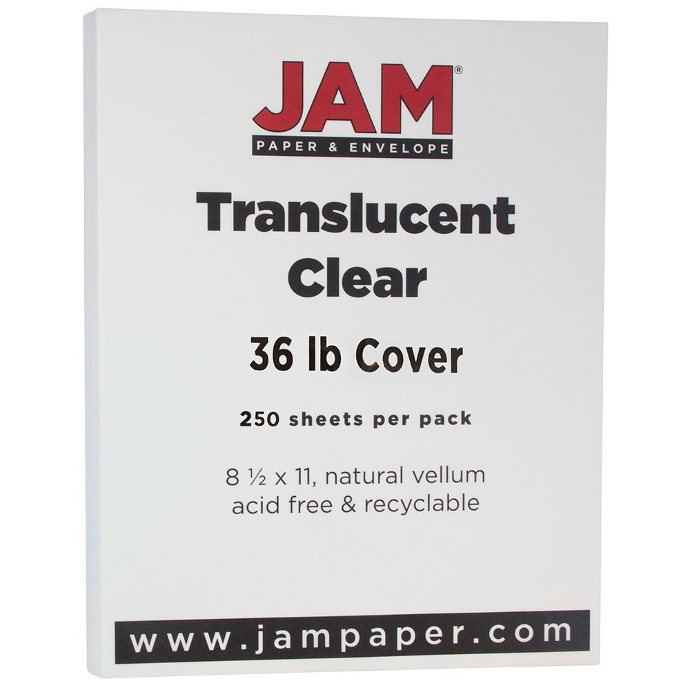 JAM PAPER Translucent Vellum 36lb Cardstock - 8.5 x 11 Coverstock - Clear - 250 Sheets/Ream by JAM Paper
