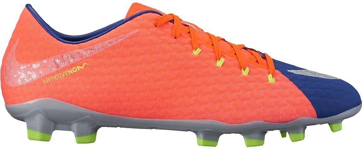 Bleu Orange Nike Hypervenom Phelon III FG, Chaussures de Football Homme 44.5 EU