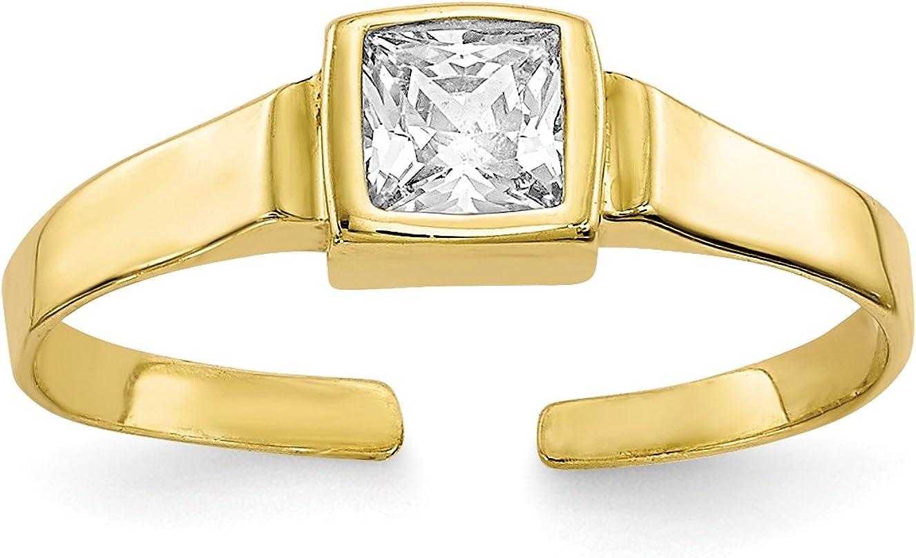10k Yellow Gold Polished Princess Bezel Set White Adjustable Synthetic CZ Toe Ring