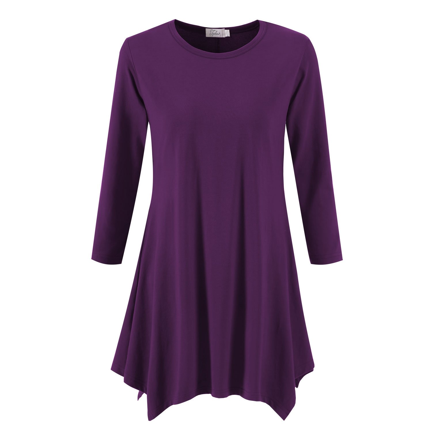 Topdress Women's Swing Tunic Tops 3/4 Sleeve Loose T-Shirt Dress Grape L