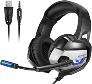 Gaming Headset - Headset Gaming Headphone for PS4, Xbox One (Adapter Need), Nintendo Switch (Audio) PC Gaming Headset with Crystal Clear Sound, LED Lights & Noise-canceling Microphone (K5-N)