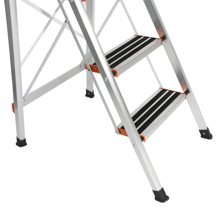 Tritthocker Faltbarer Haushaltleiter Stehleiter Alu Trittleiter 3 Stufen Leiter Stepladder NSD-JF-003