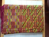Hand Woven Kente Cloth Fabric 10ft x 7ft African Clothing Kenti Dashiki Toga Wrap