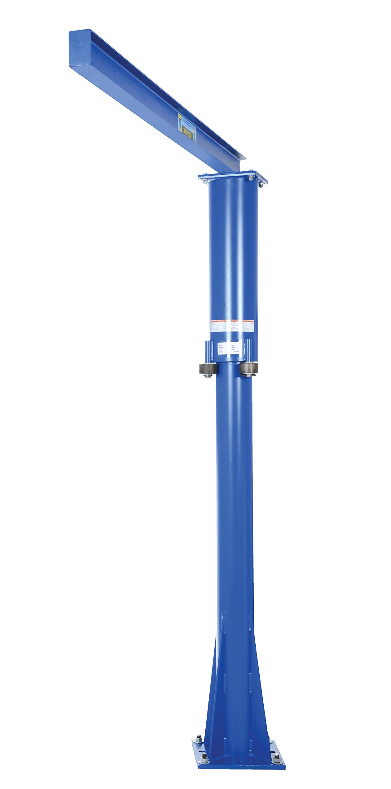 Vestil JIB-FM-3 Steel Fixed Floor Mounted Jib Crane, 300 lb Capacity, Usable I-Beam Length 70'', I-Beam 266'' Flange x 4'' Height, Overall I-Beam Length 80'', Rotation 360 degree, Under I-Beam 99-1/4''
