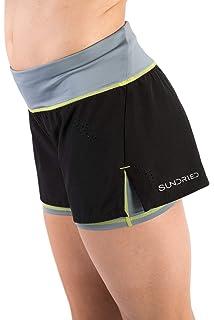 b599f6e87898 Sundried delle Donne Gym Shorts Podismo e Formazione 2-in-1 Pantaloncini  Neri Corti