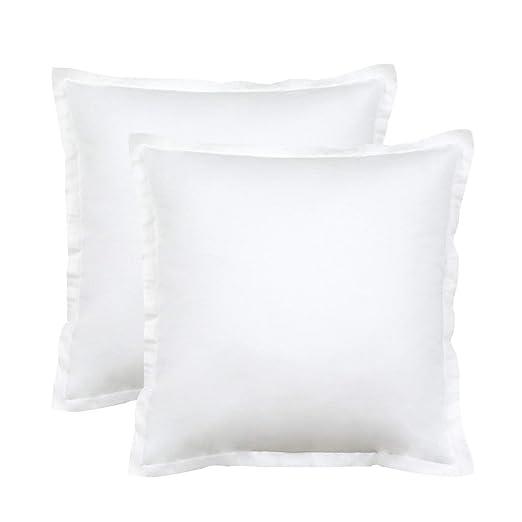 Seepong Funda de Almohada de Lujo Diseño Vintage 100% Funda de Almohada de algodón Cojines de cojín Blanco Puro 2 Piezas 50x50cm