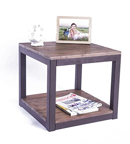 Care Royal Rustic Vintage Industrial Solid Wood And Metal 19.7u0026quot; End Side  Table/Night