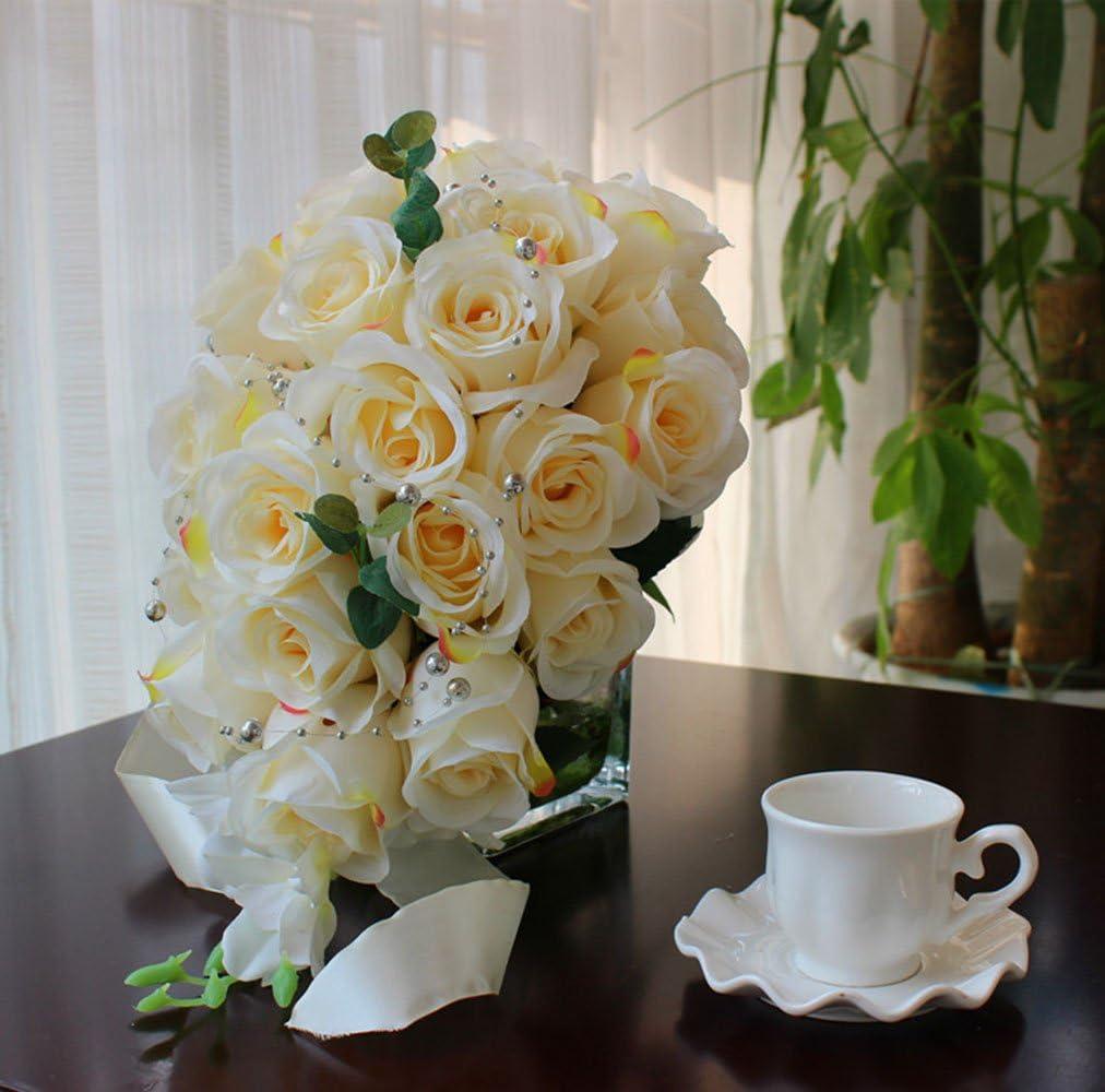 Amazon.com: Bluecastle - Ramo de novia de rosas artificiales ...
