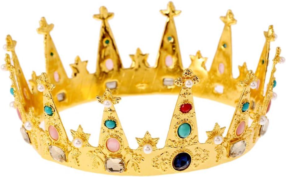Lurrose Rey de la aleación de oro de la corona de la decoración de la piedra preciosa colorida de la aleación redonda para el partido