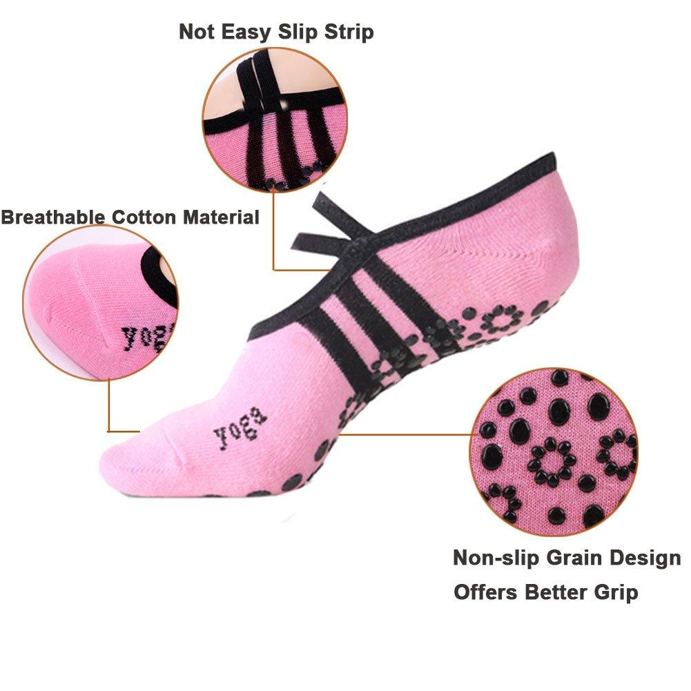 3 paires de chaussettes 39 Chaussettes antid/érapantes pour Yoga Pilates Taille 35
