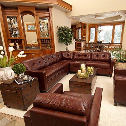 Elements Fine Carlton Top Grain Leather Sectional, (Leather Sectional Top Grain)