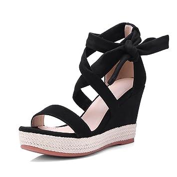 Noires En Compensées De Chaussures 9 Sandales À Lacets CmTalons wkuXZiTPO