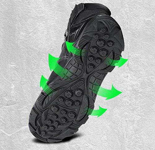 GLSHI Hombres al aire libre impermeable zapatillas transpirable baja subida táctico desierto botas cálidas botas al aire libre botas de escalada Black
