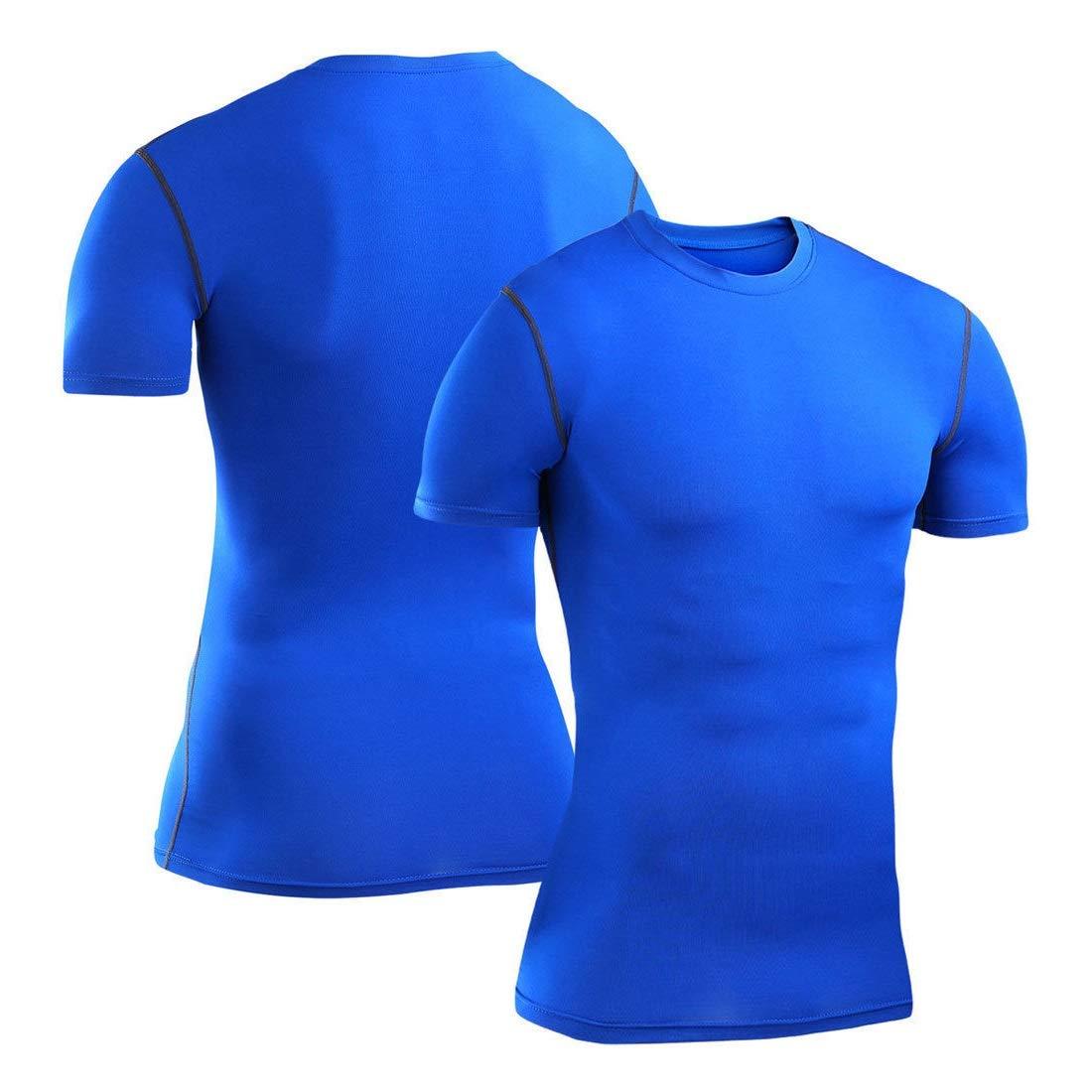 Mens Navy Blue Short Sleeve Compression Shirt Base Layer Tights #HLFN 3XL-4XL Peppermint Store