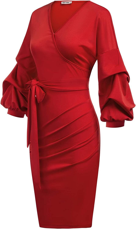 GRACE KARIN Damen Langarm Pleated Hips-Wrapped Bleistiftkleid V-Ausschnitt Elegent Party Kleid CLA2603