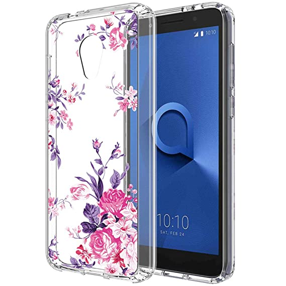 PUSHIMEI Alcatel Avalon V case,Alcatel IdealXTRA Case,Alcatel TCL LX case  for Women Girls, Clear TPU + Hard PC Back with Flower Pattern Case Cover  for