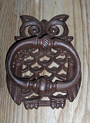 ''ABC Products'' - Heavy Cast Iron - Owl Hammer Door Knocker - Body Designed with Widows - (Rustic Bronze Finish - Has That Old Primitive Country Look) psi