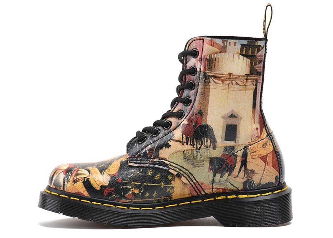 NVXIE Damen Männer Kurze Stiefel Paar Schuhe Flache Neue Mode Martin Stiefel Schnüren Sich Oben Echtes Leder Verschleißschutz Rutschfeste Malerei Frühling Herbst Winter